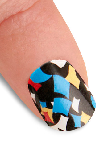 Point the Way Nail Stickers in Confetti - Statement, Multi, Red, Yellow, Blue, Black, White, 80s