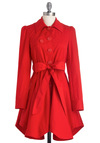 The Ins and Outside Coat by Jack by BB Dakota - Red, Solid, Buttons, Pockets, Long Sleeve, A-line, 1.5, Long