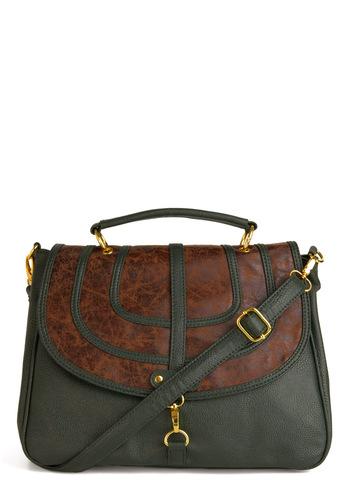 Marble Hallways Handbag - Vintage Inspired, 30s, 40s, Green, Brown, Buckles
