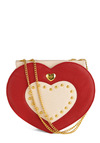 Find It in Your Heart Handbag - Vintage Inspired, Red, Tan / Cream, Chain, Studs, Party