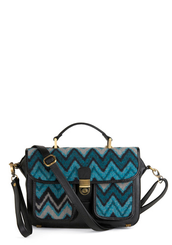 Chevron the Catwalk Bag - Statement, Blue, Black, Grey, Print