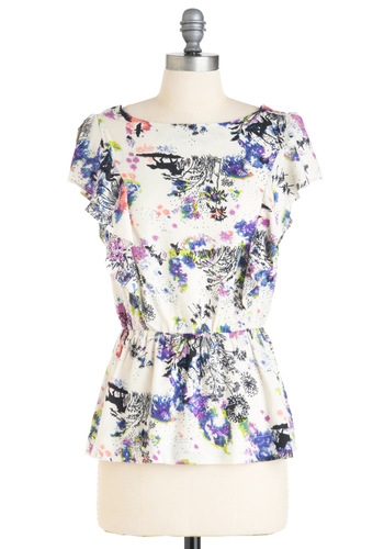 Floating Through a Fantasy Top - Mid-length, Floral, Multi, Orange, Yellow, Blue, Purple, Black, White, Ruffles, Cap Sleeves