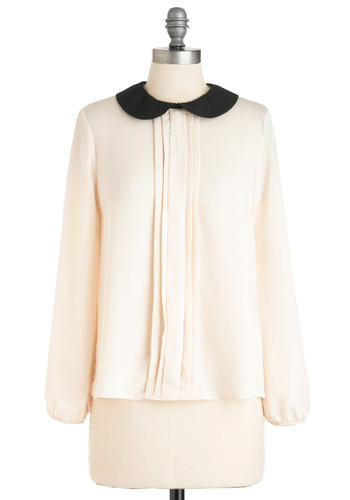 Pop Quiz-ine Top - Mid-length, Work, Vintage Inspired, 50s, White, Black, Solid, Exposed zipper, Peter Pan Collar, Pleats, Long Sleeve