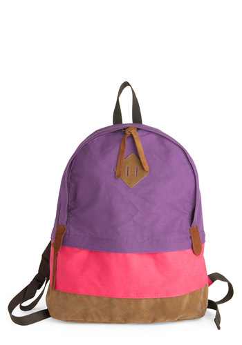 Spring Semester Backpack - Purple, Pink, Brown, Casual, Travel