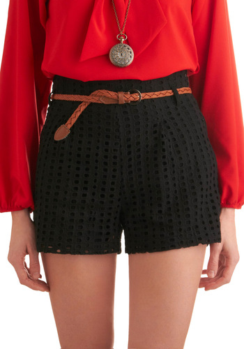 Isle Be There Shorts in Black - Mid-length, Black, Solid, Knitted, Woven, Eyelet