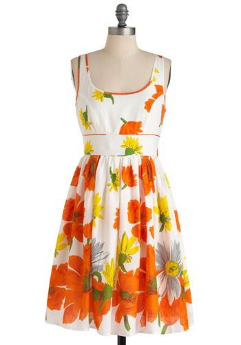 Plays Well with Others Dress in Poppy - Mid-length, Orange, Yellow, Floral, A-line, Multi, Green, Grey, Casual, Tank top (2 thick straps), Summer, White, Fit & Flare