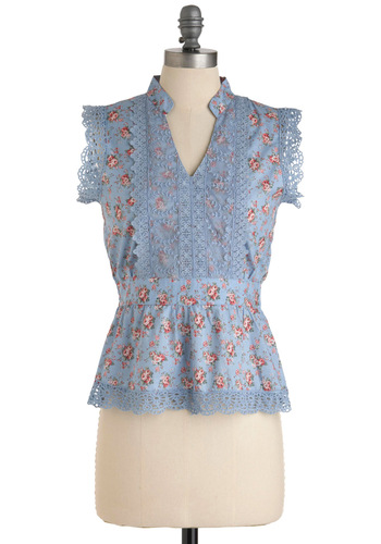 Rose Hip Hip Hooray Top - Mid-length, Blue, Floral, Lace, Scallops, Sleeveless, Casual, Green, Pink, Crochet, Spring