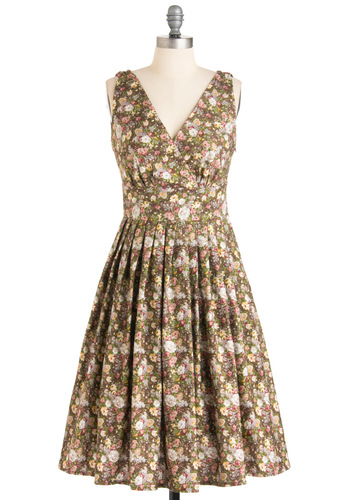 Glamour Power to You Dress in Potpourri - Floral, A-line, Sleeveless, Multi, Green, Pink, Brown, Long