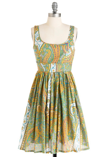Plays Well with Others Dress in Paisley - Mid-length, Casual, Green, Yellow, A-line, Multi, Purple, Grey, White, Paisley, Tank top (2 thick straps), Summer, Print