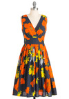 Glamour Power to You Dress in Garden - Orange, Yellow, Floral, A-line, Sleeveless, Multi, Blue, Long, Fit & Flare, Cocktail, Cotton, Daytime Party, V Neck, Beach/Resort