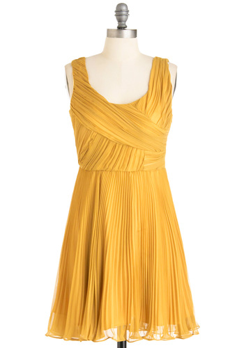 The Gift of Goldenrod Dress - Mid-length, Yellow, Solid, Pleats, A-line, Sleeveless, Prom, Wedding, Spring