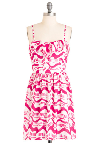 As You Wave Hello Dress - Mid-length, Pink, White, Print, Ruffles, Shift, Spaghetti Straps, Casual, Summer
