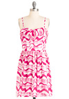 As You Wave Hello Dress - Mid-length, Pink, White, Print, Ruffles, Sheath / Shift, Spaghetti Straps, Casual, Summer