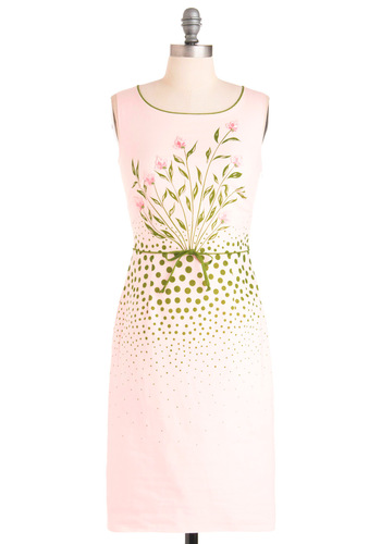 Gladiolus to Meet You Dress - Pink, Green, Print, Sheath / Shift, Sleeveless, Wedding, Vintage Inspired, Floral, Spring, Long