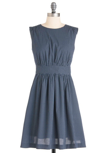 Too Much Fun Dress in Dots by Emily and Fin - Mid-length, Blue, Polka Dots, A-line, Sleeveless, Casual, Vintage Inspired, White, 50s, Print, International Designer