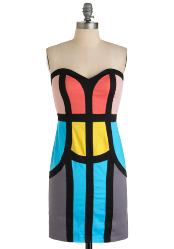 Sheath Comes in Colors Dress - Mid-length, Party, Statement, Multi, Shift, Strapless, Yellow, Blue, Pink, Black, Grey, Summer, Girls Night Out, Bodycon / Bandage, Colorblocking, Sweetheart