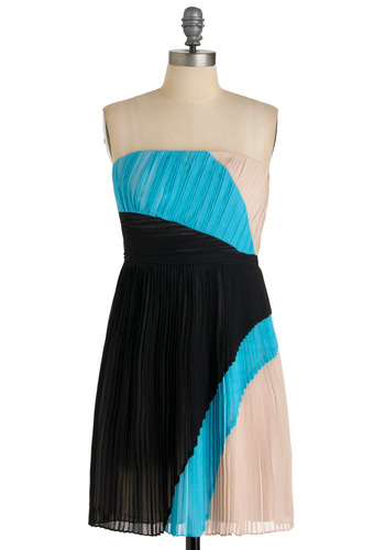 Acrobatic Pleats Dress - Mid-length, 80s, Blue, Tan / Cream, Black, Pleats, Party, A-line, Strapless