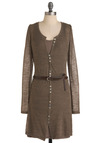 European Leisure Tunic in Sandstone - Casual, Brown, Solid, Buttons, Long Sleeve, Long