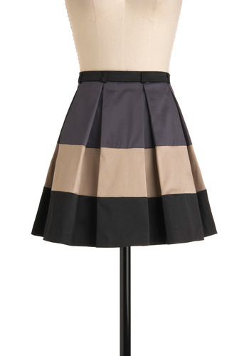 Consider It a Cakewalk Skirt - Short, Tan, Black, Grey, Pleats, Casual, A-line, Mini