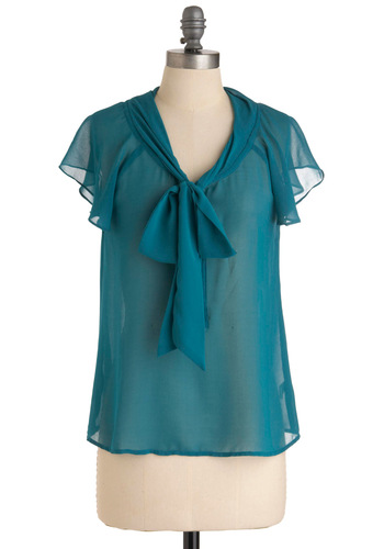You're in the Sheer Top - Vintage Inspired, Green, Solid, Ruffles, Short Sleeves, Blue, Work, Mid-length, Tie Neck, Sheer