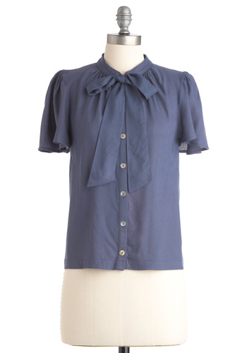 Brilliant Business Plan Top in Indigo - Blue, Solid, Bows, Formal, Work, Short Sleeves, Mid-length