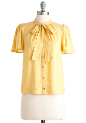 Brilliant Business Plan Top in Gold - Yellow, Solid, Bows, Special Occasion, Work, Luxe, Urban, Short Sleeves, Mid-length