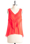 Guava Glam Top - Orange, Solid, Tiered, Sleeveless, Summer, Mid-length