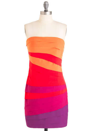 Fun Sets in the West Dress - Purple, Tiered, Strapless, Multi, Red, Orange, Pink, Party, Sheath / Shift, Summer, Mid-length, Neon, Girls Night Out, Bodycon / Bandage