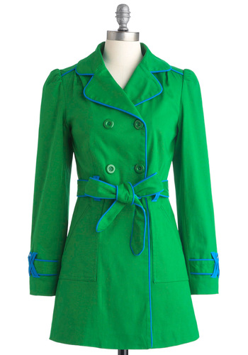 Emerald School Coat - Long, Green, Blue, Solid, Buttons, Pockets, Trim, Long Sleeve, Casual, 60s, Pleats, Spring, 2