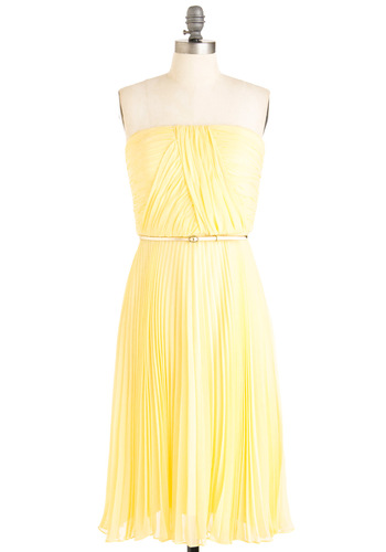 California Dessert Dress - Wedding, Vintage Inspired, 40s, Yellow, Solid, Pleats, Shift, Strapless, Spring, Long