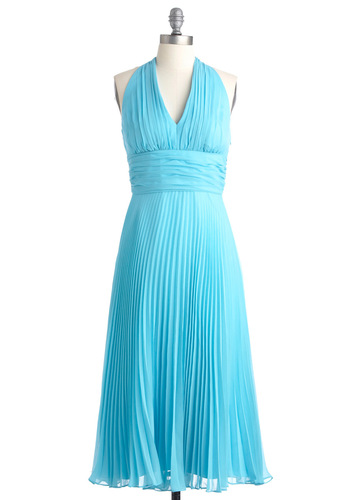 University of Marilyn Dress - Long, Blue, Solid, Pleats, Halter, Vintage Inspired, Wedding, 60s, Empire, Spring
