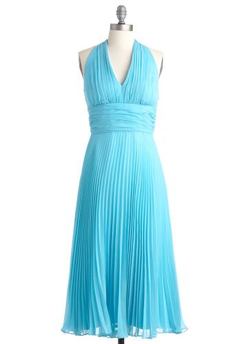 University of Marilyn Dress - Long, Blue, Solid, Pleats, Halter, Vintage Inspired, Wedding, 60s, Empire, Spring