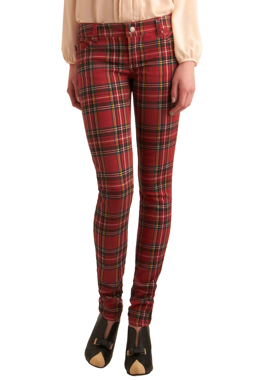 Never Plaid It So Good Jeans in Red | Mod Retro Vintage Pants ...