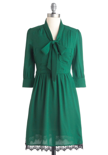 Fun, Forest, Fun Dress - Mid-length, Green, Solid, Lace, Pockets, 3/4 Sleeve, Black, Bows, Scallops, Work, Shift, Fall
