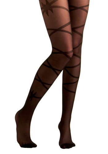 Let's Have a Ballet Tights - Pinup, Black, Print, Sheer