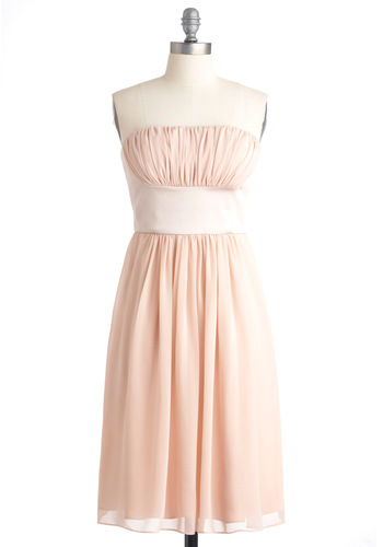True Beauty Dress - Pink, Solid, Shift, Strapless, Prom, Wedding, Spring, Long
