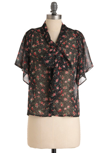 Quiet Time Top - Black, Floral, Short Sleeves, Multi, Red, Green, Pink, White, Polka Dots, Bows, Casual, Mid-length