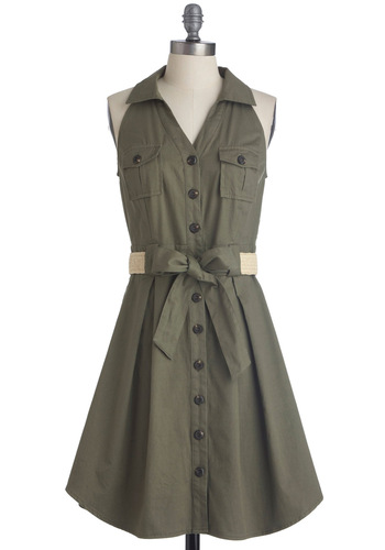 Braai Invite Dress - Mid-length, Green, Solid, Buttons, Pockets, Casual, Safari, Tan / Cream, Shirt Dress, Halter, Belted, Button Down, Collared, Fit & Flare, V Neck