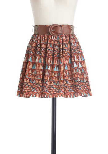 Terra Cotta In the Act Skirt - Short, Casual, Print, Buckles, Orange, Blue, Brown, Boho, A-line, Mini