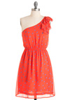 Boardwalk with Me Dress - Mid-length, Orange, Blue, Polka Dots, One Shoulder, Pleats, Party, A-line, Summer, Daytime Party