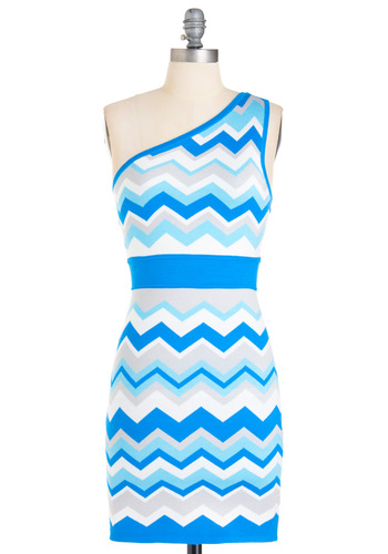 You Aqua Know Dress - Short, Blue, White, Sheath / Shift, One Shoulder, Grey, Party, 80s, Stripes, Mini, Summer