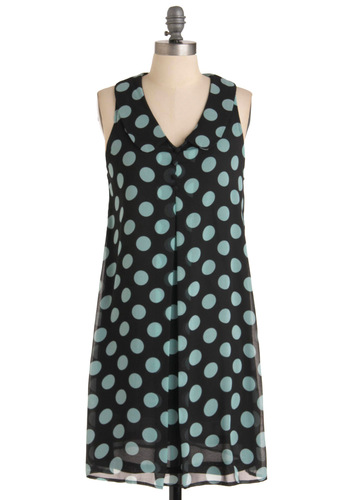 Katie's Pencil Box Dress - Blue, Polka Dots, Peter Pan Collar, Sleeveless, Buttons, Casual, Tent / Trapeze, Print, Mid-length, Black