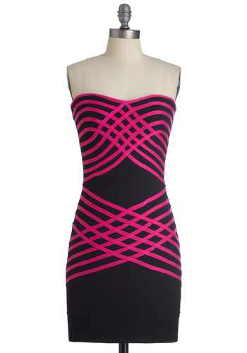 Weave 'Em Breathless Dress - Black, Pink, Stripes, Strapless, Party, Sheath / Shift, Short