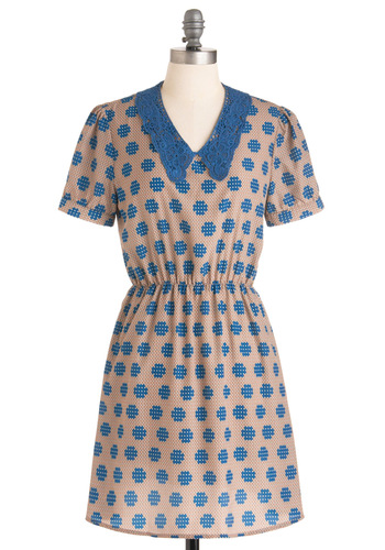 Waffle Shop Dress - Mid-length, Tan, Blue, Print, Crochet, Short Sleeves, Casual, A-line