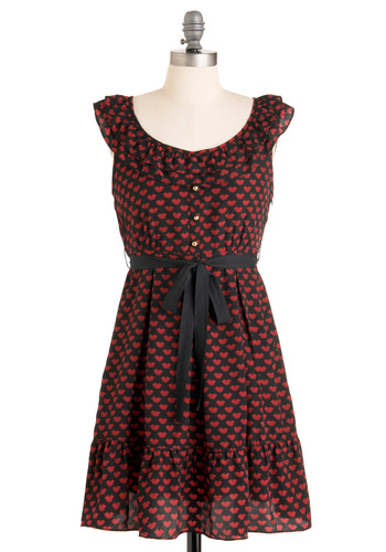 Ink a Blot of You Dress - Print, Buttons, Ruffles, A-line, Cap Sleeves, Red, Black, Casual, Short, Belted, Holiday Sale