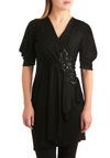 There's an Applique for That Dress - Mid-length, Black, Solid, Sequins, Wrap, 3/4 Sleeve, Party