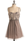 Smoky Mountain Town Dress - Cream, Grey, Floral, Buttons, Lace, Party, A-line, Spaghetti Straps, Short
