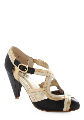 Petunia Heel by Seychelles - Special Occasion, Vintage Inspired, Black, Tan / Cream, Gold, Solid, Cutout, 20s, 30s