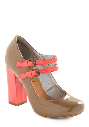 Strike a Prose Heel - Tan, Pink, Solid, Work, Spring