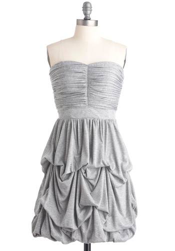 Cascades of Grey Dress - Casual, Grey, Solid, Strapless, Sheath / Shift, Mid-length, Vintage Inspired, 20s, 30s
